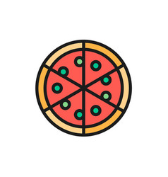 pizza italian dish flat color line icon isolated vector image
