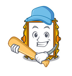 Playing baseball picture frame character cartoon vector