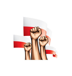 Poland flag and hand on white background vector