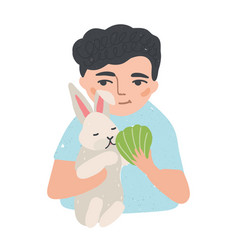 Portrait of young man or boy holding his bunny vector
