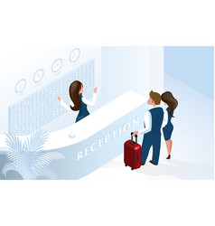 receptionist at hotel reception welcome couple vector image