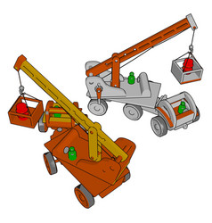 red and white construction vehicles toy on white vector image