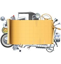 Retro Car Parts Frame vector