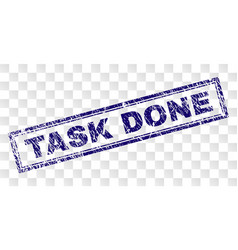 Scratched task done rectangle stamp vector