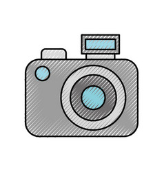 scribble cute grey camera cartoon vector image