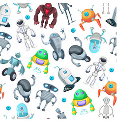 Seamless pattern with cute funny robots vector