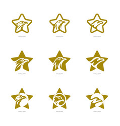 Set of star eagle logo template eagle logo with vector