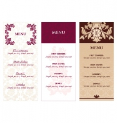 Set ornamental flowers menu vector