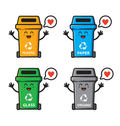 Set trash can love character design vector