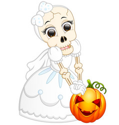 Skull bride holding pumpkin cartoon vector