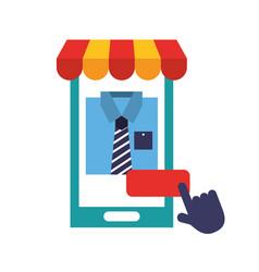 Smartphone market clicking online shopping vector