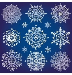 Snowflakes icon collectionWinter crystal round vector