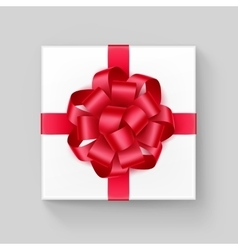 Square Gift Box with Red Scarlet Ribbon Bow vector