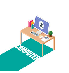 technology computer on working table background ve vector image