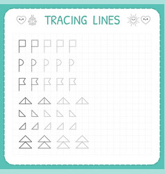 Tracing lines worksheet for kids trace the vector