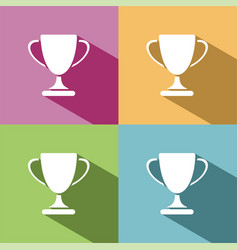 Trophy icon with shadow on colored background vector