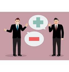 Two businessman with positive and negative vector image