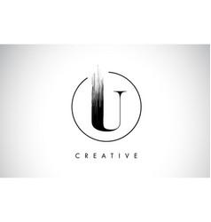 U brush stroke letter logo design black paint vector