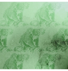 vintage green watercolor koala bears patt vector image