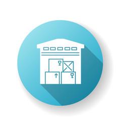 warehousing blue flat design long shadow glyph vector image