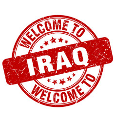 Welcome to iraq red round vintage stamp vector