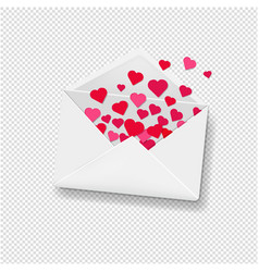 white envelope with hearts transparent background vector image