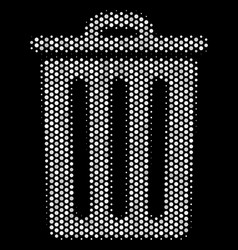 white halftone trash bin icon vector image