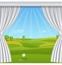 White opened luxurious curtains template vector