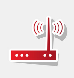 Wifi modem sign new year reddish icon vector