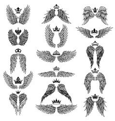 wings with crowns silhouettes vector image