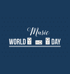 World music day style banner flat vector