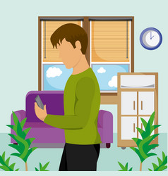 young man using smartphone at room vector image