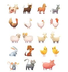 1607i126010Pm003c23farm animals retro cartoon vector image
