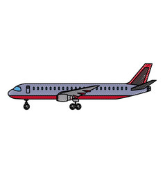 airplane side view travel passenger commercial vector image