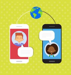Couple speak cell smart phone chat social network vector