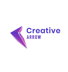 creative arrow logo design with colorful triangles vector image vector image