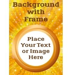 Frame porthole on golden background vector