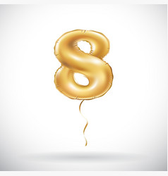 Golden number 8 eight metallic balloon party vector