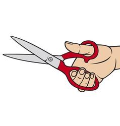 hand holding scissors vector image vector image