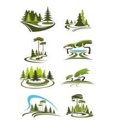 Park garden and forest landscape icons vector image vector image