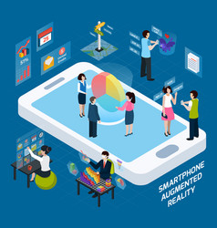 smartphone augmented reality isometric composition vector image