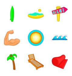 sunbathe on the beach icons set cartoon style vector image