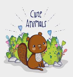 Cute squirrel doodle cartoon vector