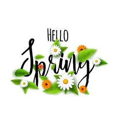 Fresh Spring background poster with leafs vector image