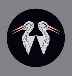 icon of a two bird a stork or crane vector image vector image
