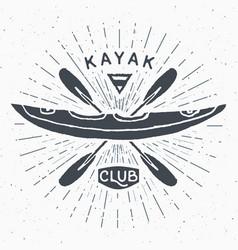 kayak club vintage label hand drawn sketch grunge vector image vector image