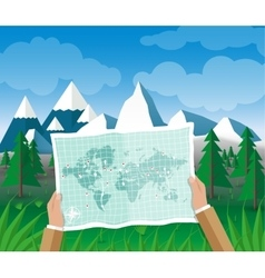 Man on a hiking trip holding map in his hands vector image