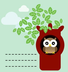 owl in tree trunk vector image