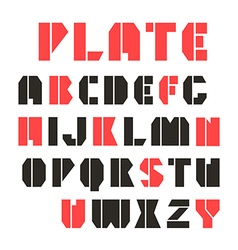 Sans serif stencil plate font and numeral vector image