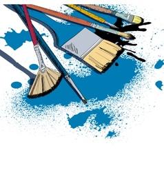 Artist brushes sketch emblem vector image vector image